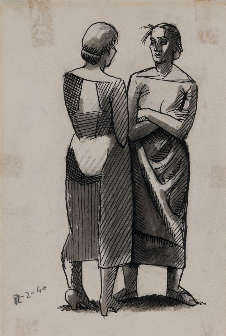 DEUX FEMMES CONVERSANT (TWO WOMEN CONVERSING)