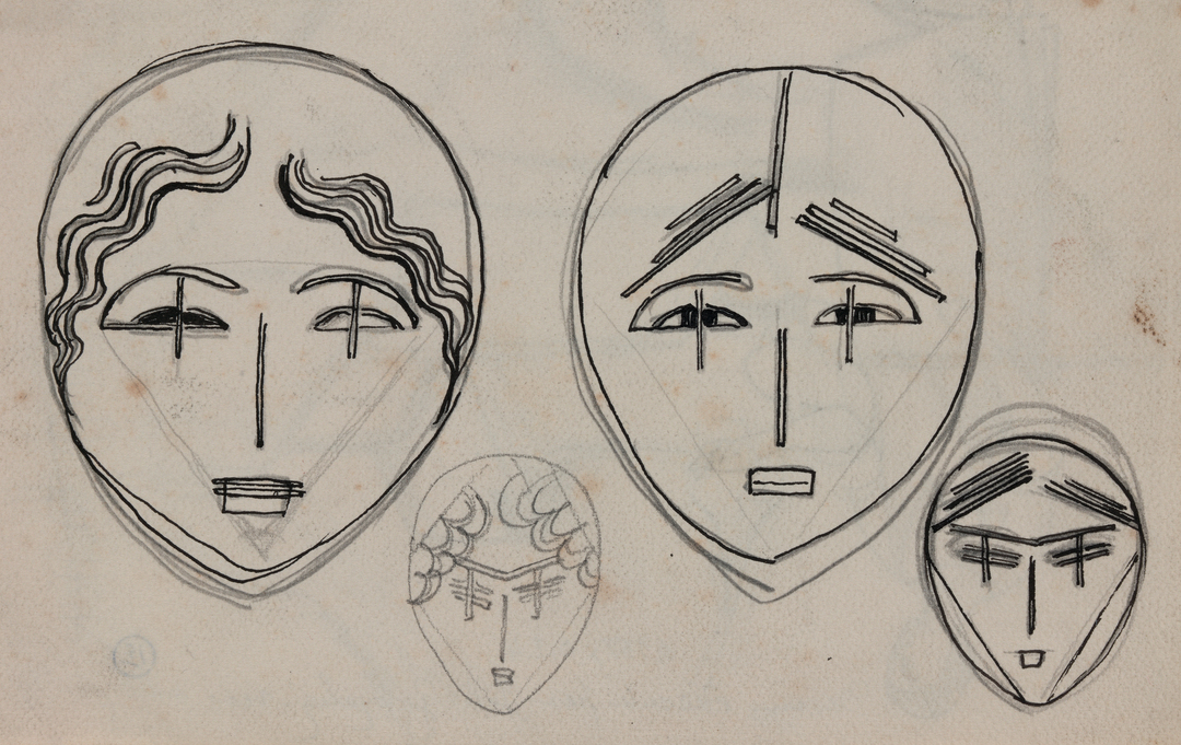 QUATRE VISAGES, PROJET DE SCULPTURE (FOUR FACES, PROJECT OF SCULPTURE)